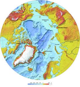 Karte der Arktis: Die AWIPEV-Station befindet sich auf der norwegischen Insel Spitzbergen