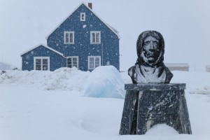 The Blue House during snowfall