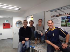 Das Tauchteam auf seiner Fracht: Philipp, Marco, Cornelia und Christoph. Foto: Marco Warmuth