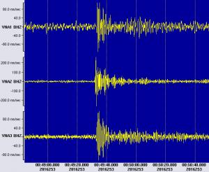 Ausschnitt des Atomtest-Ausschlags: Alle drei Seismometer haben die Druckwellen aufgezeichnet. Foto: Jölund Asseng