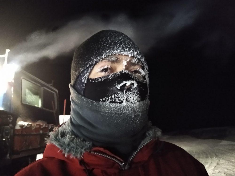 Die Maske zum Schutz vor Kälte