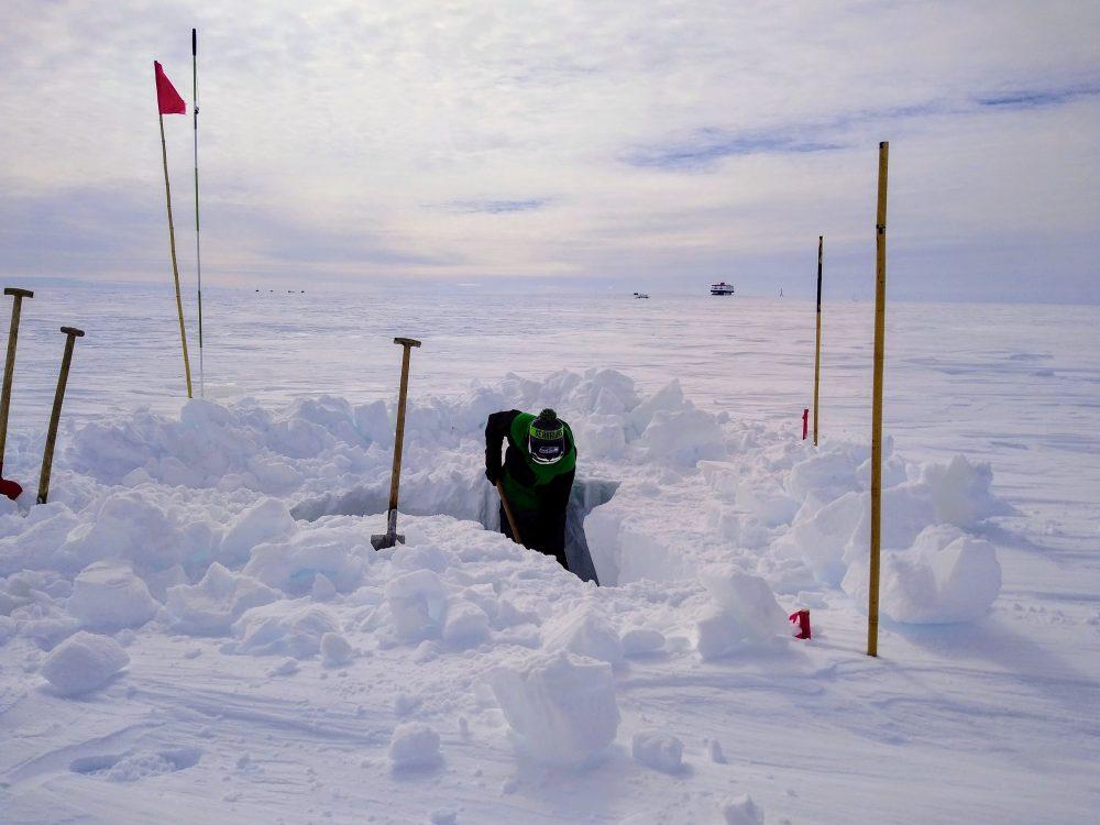 Kabel ausbuddeln in der Antarktis