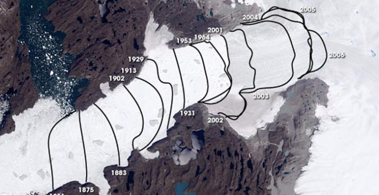 Luftbild des grönlandischen Gletschers Jakobshavn Isbræ: Die Linien markieren den Rückzug des Gletschers seit 1851. Bild: NASA.
