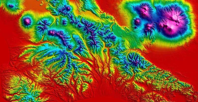 TanDEM-X-Höhenmodell der Kamtschatka-Halbinsel. Bild: DLR