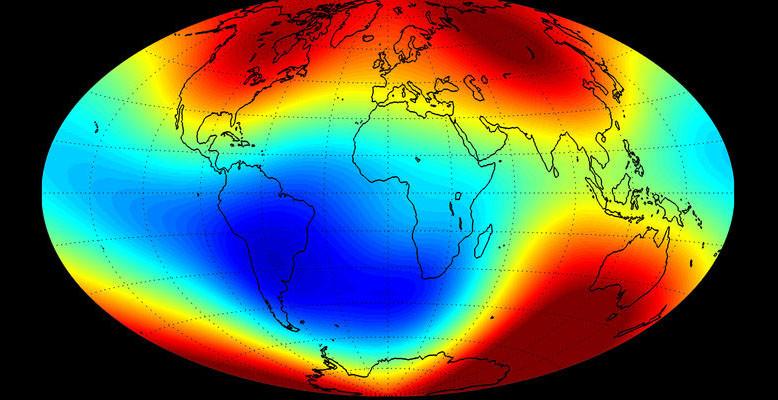 Das Magnetfeld der Erde im Juni 2014. Bild: ESA