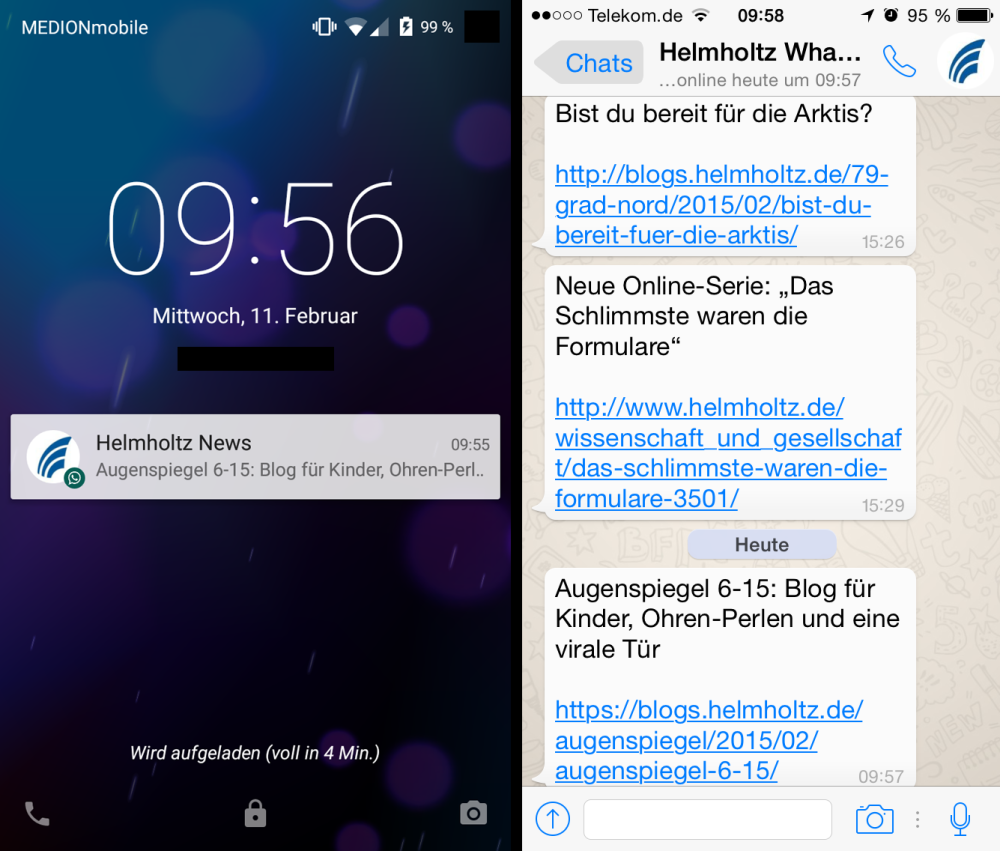 Helmholtz Whatsapp-Newsletter