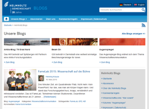 Helmholtz Blogs mit aktualisierter Startseite