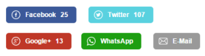 Sharing-Buttons unter den Helmholtz-Blogbeiträgen in der Handy-Darstellung