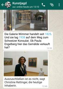 Kunstjagd: Hinweise über Whatsapp