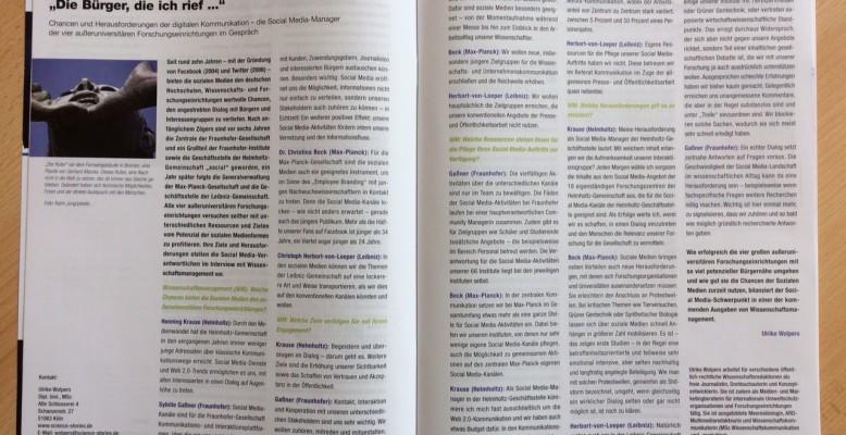 """Interview zur Social Media-Kommunikation in """"Wissenschaftsmanagement"""""""