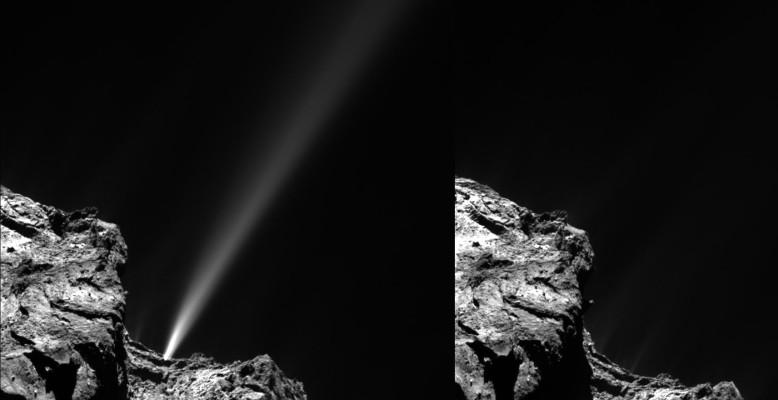 Ein Ausbruch auf Komet 67/P (links) mit abruptem Ende: 18 Minuten später (rechts) ist kein hinausschießendes Material mehr zu sehen. Bild: ESA/Rosetta/MPS for OSIRIS Team MPS/UPD/LAM/IAA/SSO/INTA/UPM/DASP/IDA