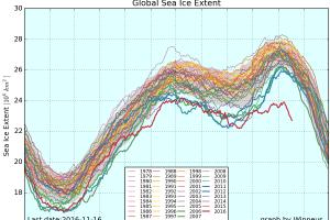 Globales Ausmaß der Eisdecke nach Jahren. Quelle: Wipneus/ArctischePengiun aus Daten des NSICD.