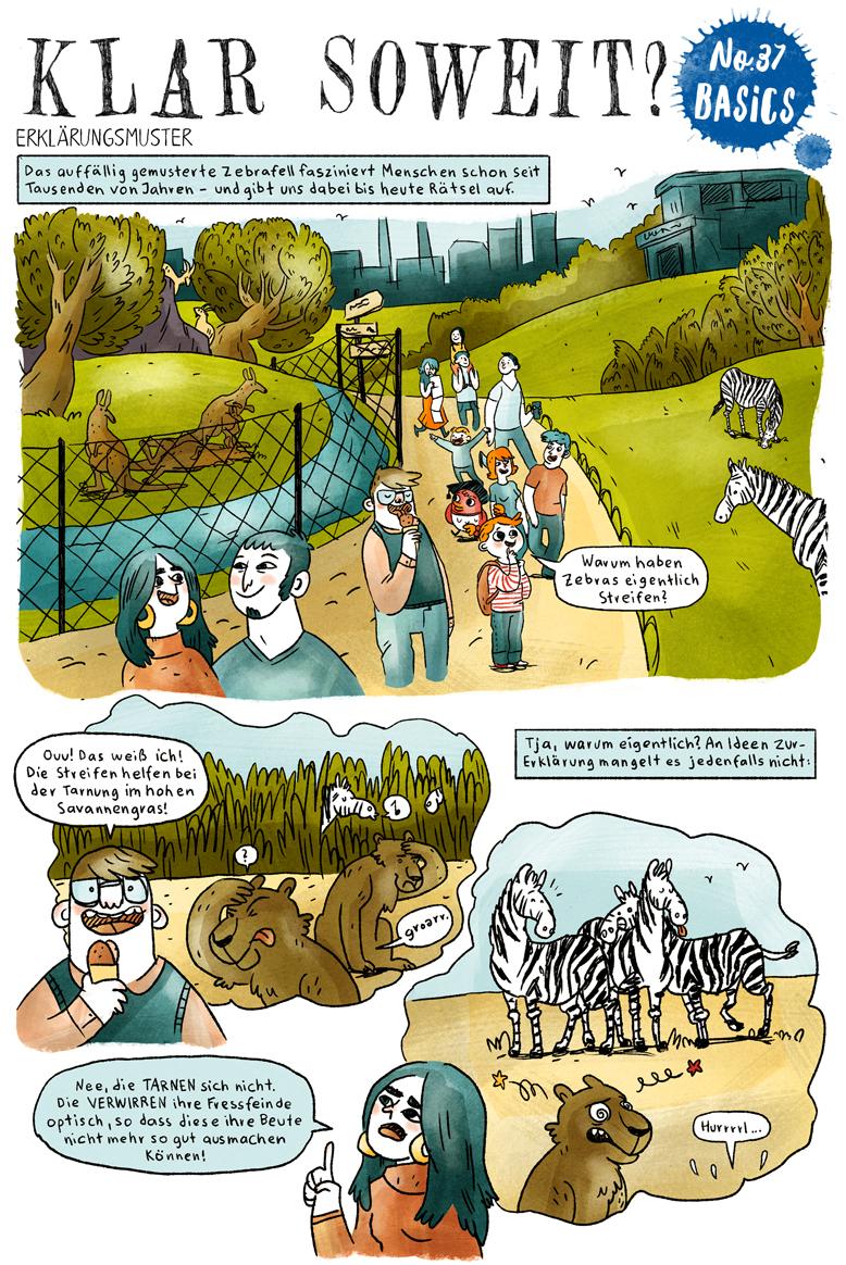 Helmholtz Wissenschaftscomic Ökologie Evolutionsbiologie Zebras Streifen
