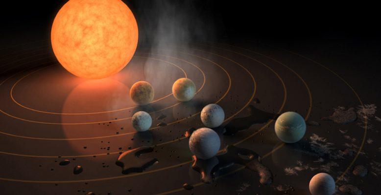 Sieben neuentdeckte Exoplaneten, drei davon in der bewohnbaren Zone. Bild: NASA/JPL-Caltech (künstlerische Darstellung)