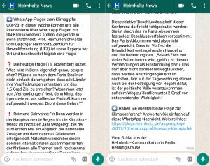 WhatsApp-Frage zur Klimakonferenz