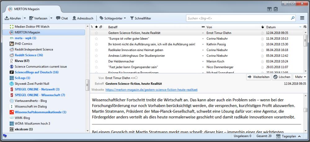 News per RSS in einem Feedreader verwalten - ohne Algortihmen