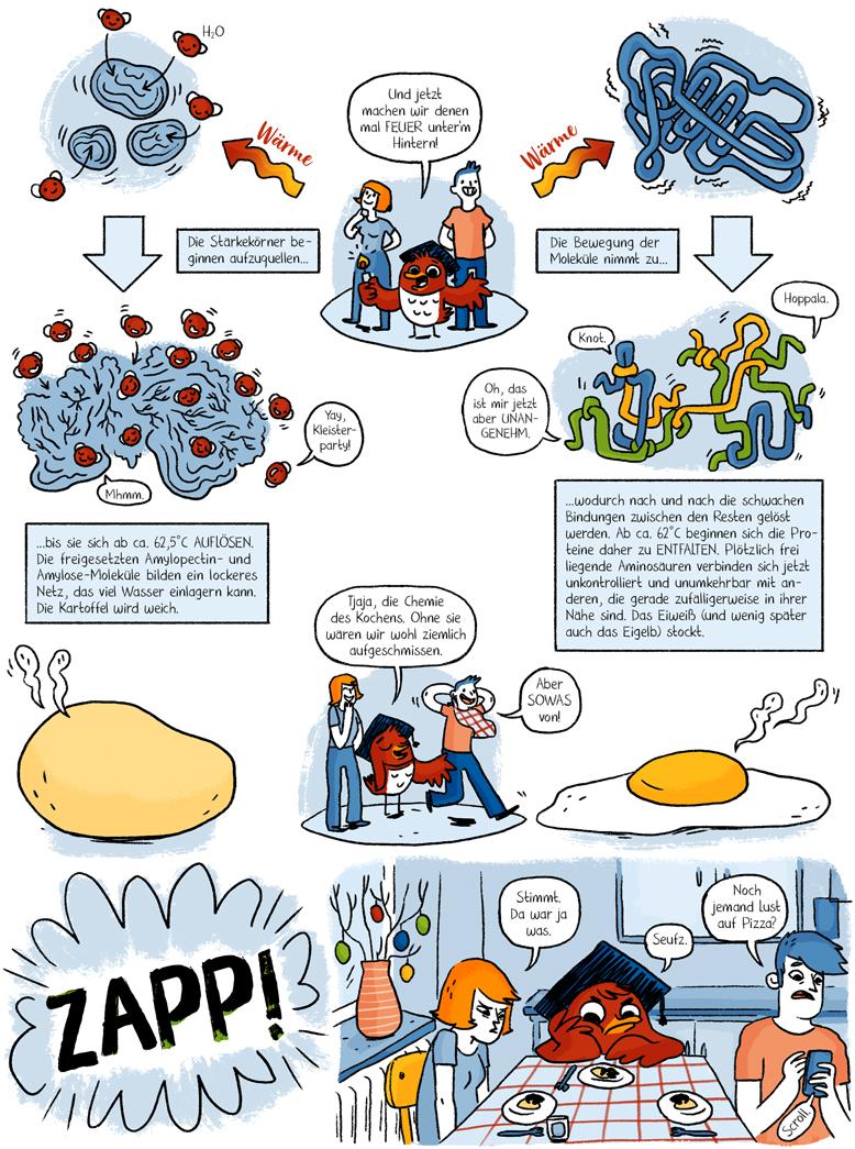 Helmholtz Wissenschaftscomic Kochen Chemie Küchenchemie Ostern Ei Kartoffel Denaturierung Eiweiß Eigelb Amylose Amylopektin Stärke Verkleistern