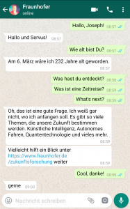 """Hallo Joseph!"" Fraunhofer-Chatbot"
