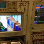 Der Ionenstrahl trifft und verfärbt den Film. Bild: GSI