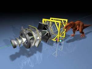 Der HADES-Detektor ist so groß wie ein T-Rex. Bild: GSI