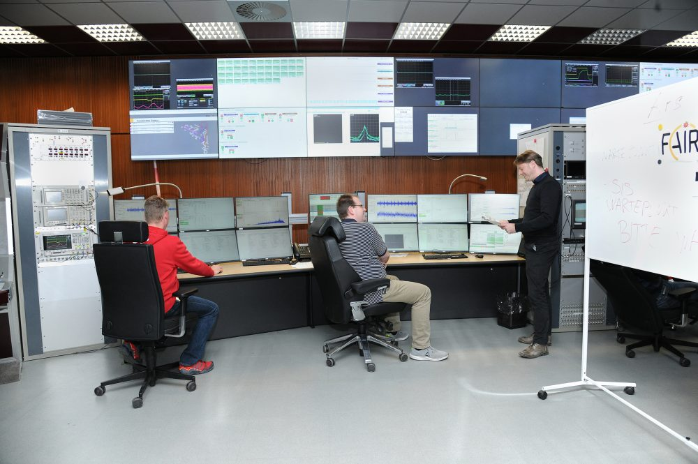 Meeting in the main control room.