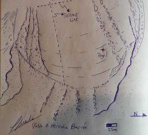 Die in der Pegelstation vorhandenen Skizzen der Pioniere haben einen so bleibenden Eindruck hinterlassen, dass Pablo auch von einem Teil unserer Messungen eine Solche Skizze anfertigte.