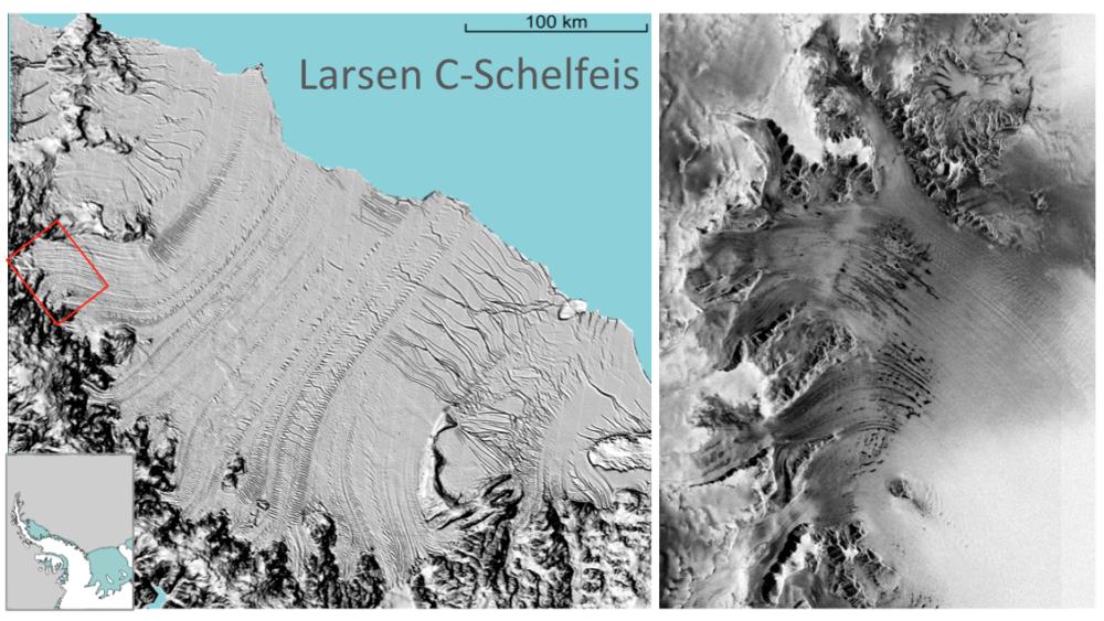 Das Larsen C-Schelfeis an der Antarktischen Halbinsel. Hintergrundbild MODIS, NASA.