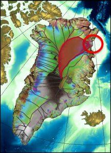 Der NEGIS (North East Greenland Ice Stream), ist einer der mächtigsten grönländischen Eisströme. (Grafik: Alfred-Wegener-Institut)