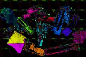 Kunst am Bild: Wenn die Glaziologen die gemessene Ausrichtung der c-Achsen der Eiskristalle in einer Farbcodierung darstellen, kommen dabei so farbenfrohe Darstellungen heraus. Foto: Ilka Weikusat