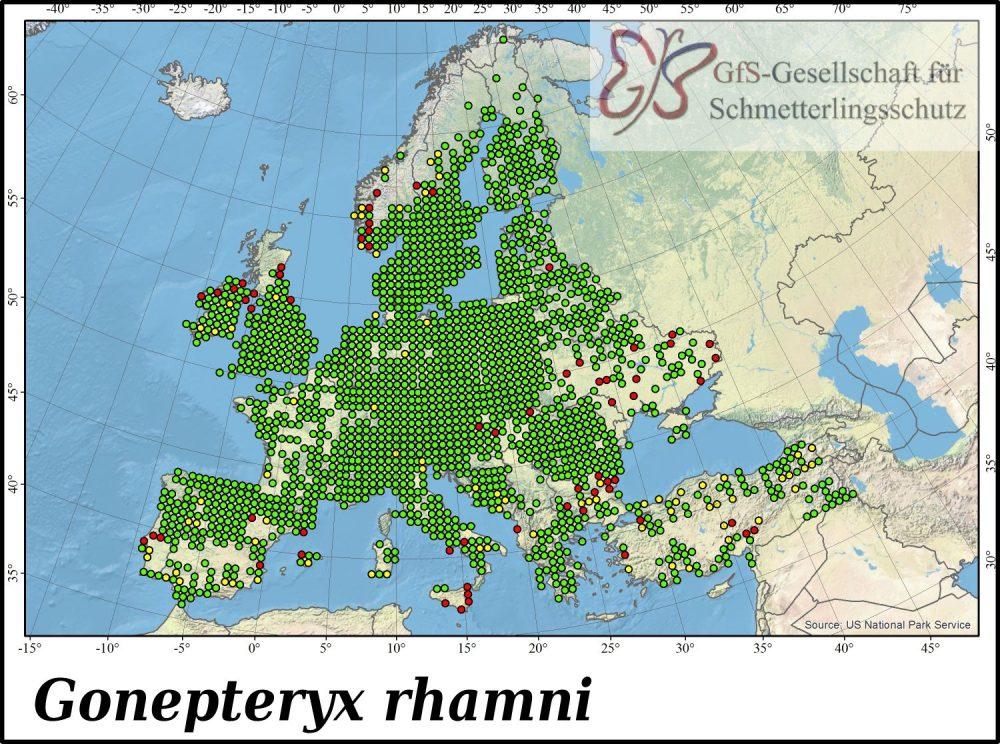 Europäische Verbreitung des Zitronenfalters (Gonepteryx rhamni)