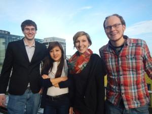Speaker Picture, from left to right: Nicholas Engel (HeJu Speaker 2014), Xixi Feng (Stearing Group PhDnet), Meike Köhler (HeJu Speaker 2015) and Daniel Neumann (HeJu Speaker 2015)