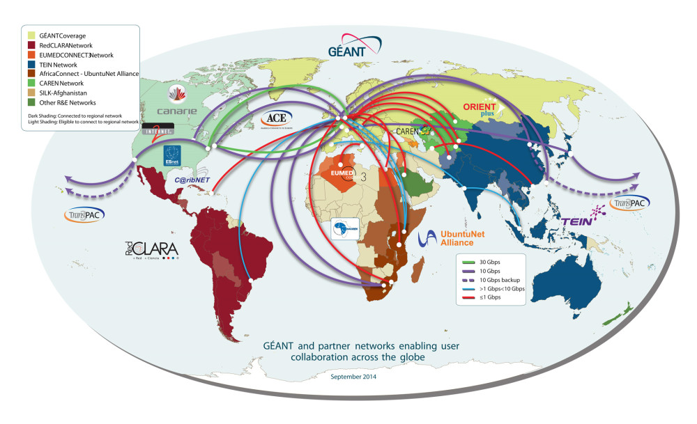 GÉANT global connectivity - Reproduced with the kind permission of GÉANT (www.geant.org)