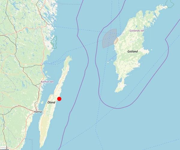 Kartenausschnitt der schwedischen Inseln Gotland und Öland