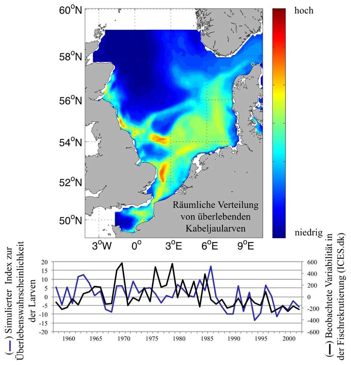 Grafik räumliche Verteilung von Fischlarven in der Nordsee