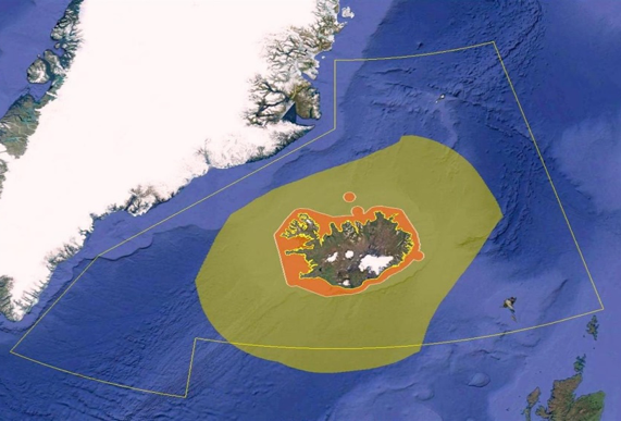 Figure 1 Iceland's Territorial waters (orange area), Exclusive Economic Zone EEZ (yellow area), Search and Rescue Region SRR (yellow shape) (© Google Earth & Icelandic Coast Guard)