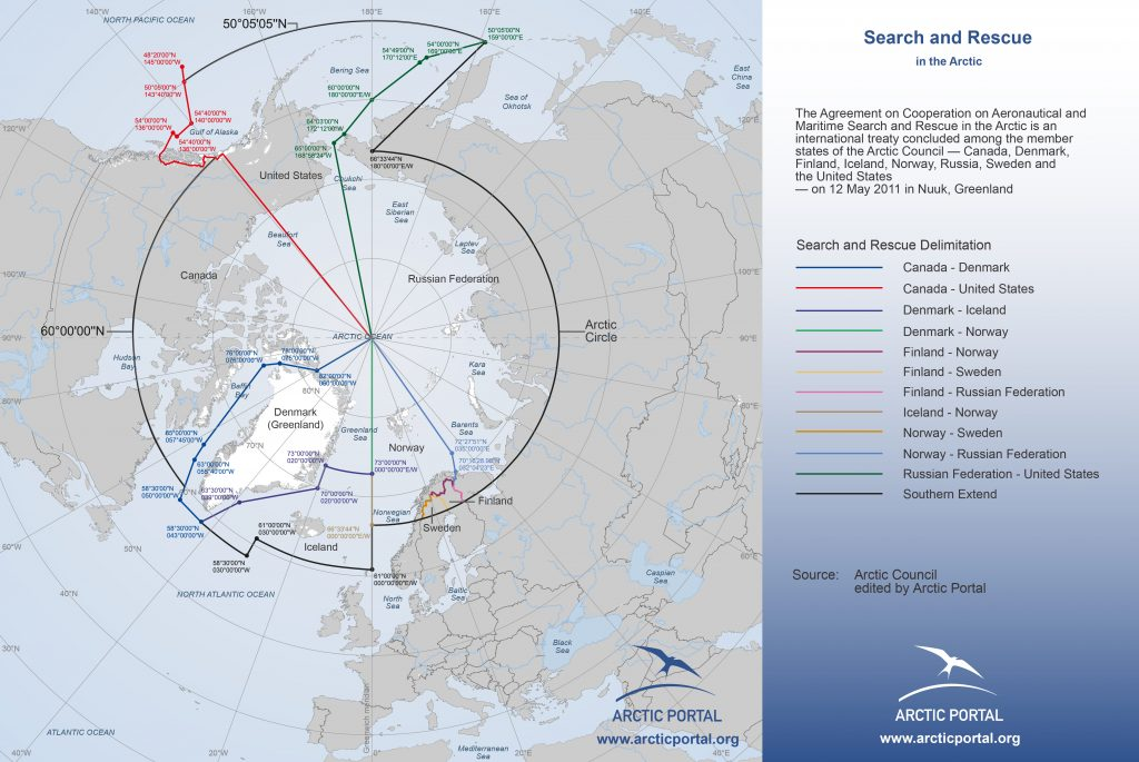 Figure 2 The search and rescue regions (SRR) of the countries sourrounding the Arctic stretch over areas with limited connectivity and far away from infrastructure. (©Arctic Portal)