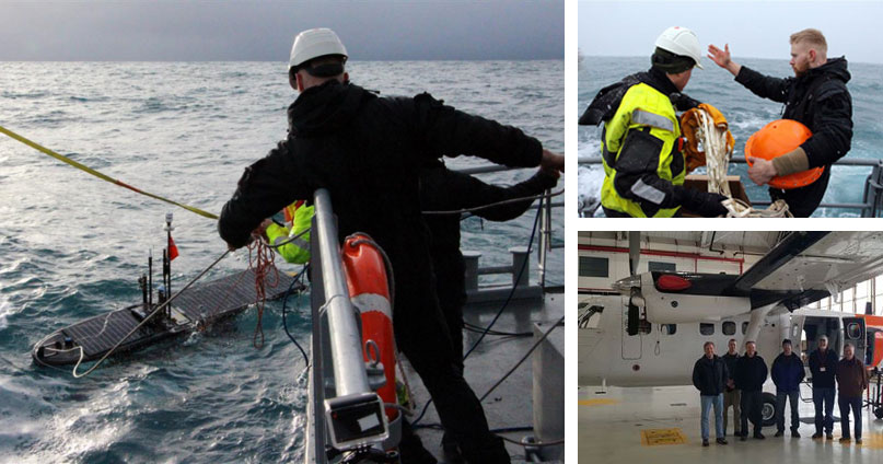 Figure 5 (left) Wave glider deployed by ICG vessel Baldur. Top right: Wave buoy deployed by ICG vessel Baldur. Bottom right: Naval Post Graduate School Twin Otter in ICG hangar in Keflavik. (all © Icelandic Coast Guard).