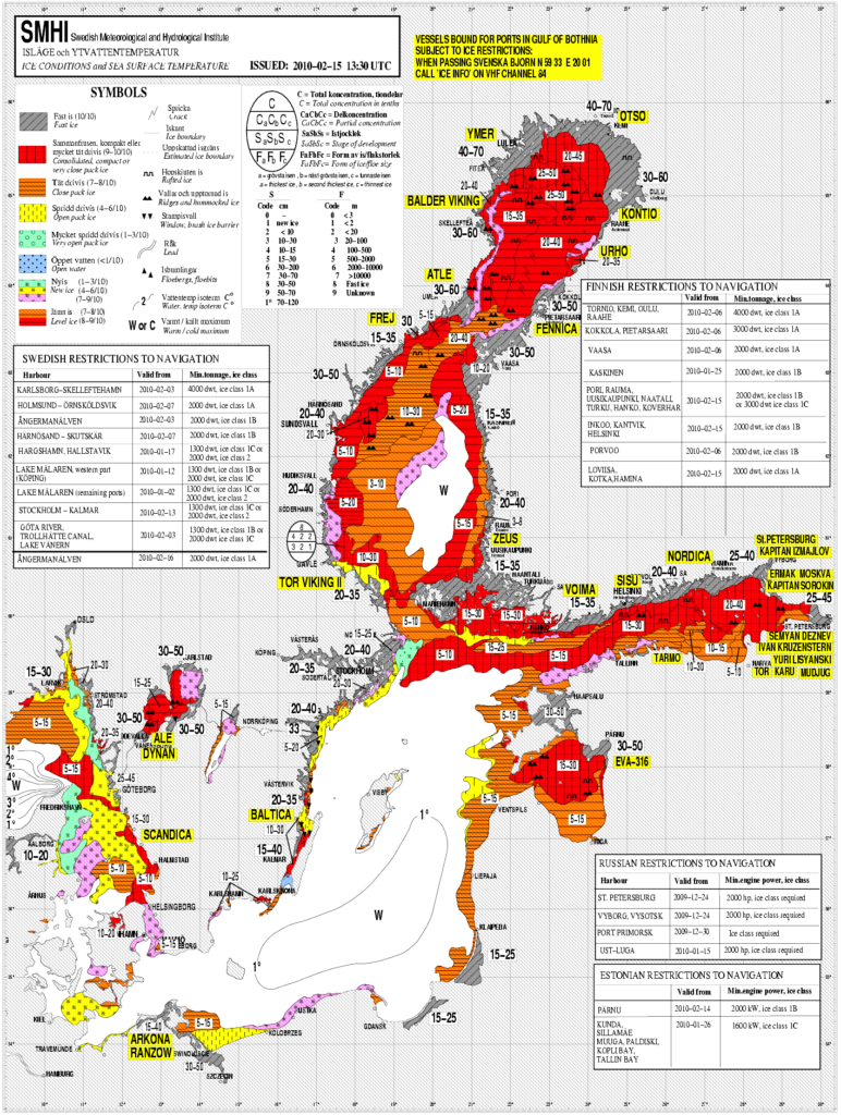 Example of an ice chart for the Baltic Sea. A lot of specialised knowledge by the analyst goes into the preparation of such charts and it requires a skilled expert to interpret correctly (source: SMHI).
