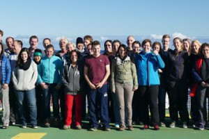 The Science Crew of the TRANSSIZ Cruise consists of 51 scientists from 11 different countries. Photo: E. Nasis