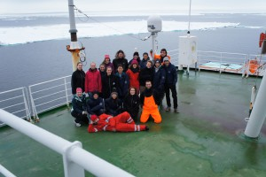 ArcTrain students on board RV Polarstern, floating in the ice. Photo: Annegret Krandick