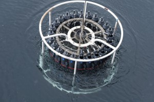 CTD rosette returning from the deep. Photo: Annegret Krandick
