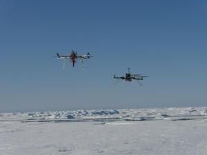 Multicopter beim Einsatz auf der Scholle. Foto: Tobias Mikschl