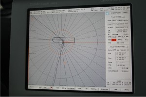 "The display of the ""Chartpilot"" on the bridge on 7.9.2015 at 20:36. The latitude lines are 180 m apart. Photo: Moritz Langhinrichs"