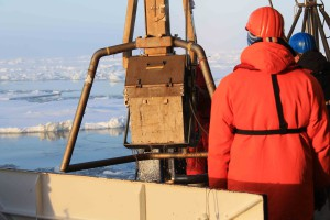 The multicorer with sediment cores hoisted back aboard Polarstern. Photo: Franz Schroeter, AWI
