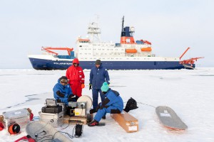 Oceanographer and their CTD winch. Photo: Mario Hoppmann