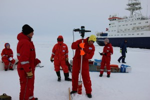 Biologists in their drilling area. Photo: Erika Allhusen