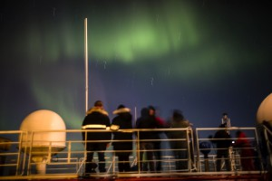 Gathering on the monkey deck for the show. The stars a still smeared over the picture. Photo: Stefan Hendricks