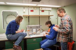 Wissenschaftler bemalen in einer Pause Styroporbecher. Foto: Thomas Ronge