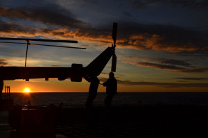 Early morning start for the helicopter crew, close to Cape Horn. (Photo: Alessa J. Geiger, Univ. Glasgow)