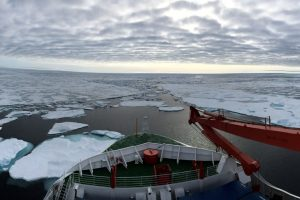 Two researchers from the Stellenbosch University in South Africa are on Board to learn more about the dynamics of ship-ice interaction. Photo: Keith Soal